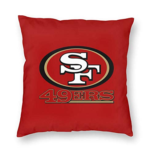 (MamaTina Custom Colorful Square Pillowcase San Francisco 49ers Football Team Sofa Cushion Cover Soft Pillow Cover Invisible Zipper Pillow Case Protector for Bed 1 Pc - 20X20 Inch)