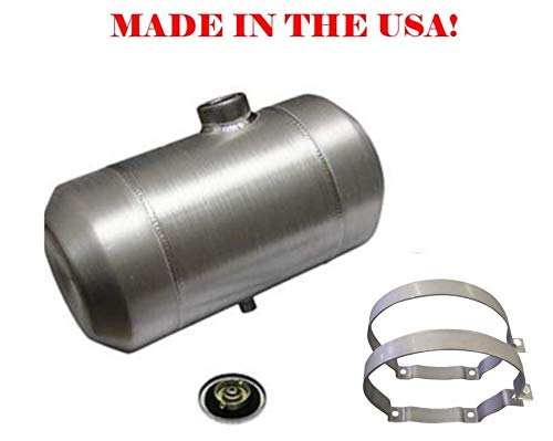 (10x16 End Fill Round Spun Aluminum Gas Tank - 5 Gallon - Motorcycle - Tractor Pulling - Ratrod - Dune Buggy - Trike - Baja Bug - 1/4 NPT - Made in the USA!)