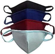 Reusable Cotton Face Mask, Breathable, Non Surgical, Washable Bandana 3 Layered - Family Pack of 4, Medium Siz