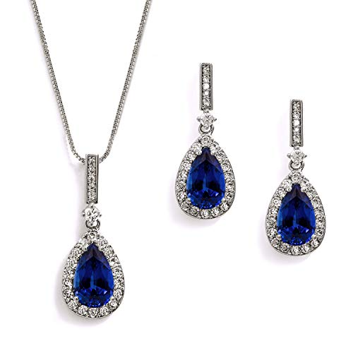 Sapphire Zirconia Jewelry Cubic (Mariell Sapphire Blue Cubic Zirconia Necklace & Earrings Bridal Jewelry Set, Something Blue Wedding Gift)