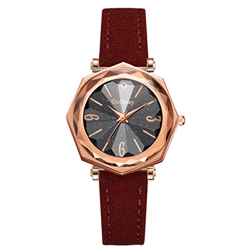 - LUCAMORE Women Quartz Watches for Sale Temperament Wrist Watch Starry Sky Dial With Leather Strap Bracelet Jewelry Gift
