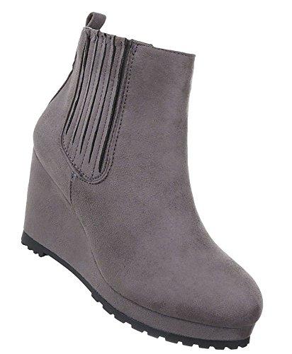 Damen Schuhe Stiefeletten Keil Wedges Plateau Boots Modell Nr.3 Grau