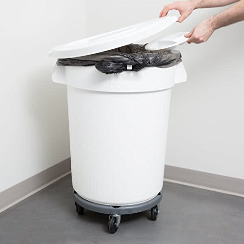TableTop King 27432IBKIT 32 Gallon White Ingredient Bin / Trash Can, Lid, and Dolly Kit ()
