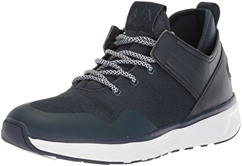 A|X Armani Exchange Men's Mid Cut Lace up Sneaker, Navy, 9 Medium US by A|X Armani Exchange