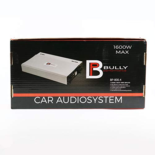 Bully Performance Audio BP-800.4 | 4 Channel MOSFET Power Amplifier | 1600W Max | Car Audio System | Amp for Highs & Mids