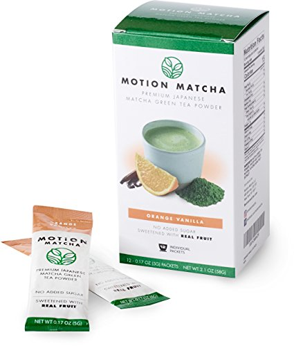 (Flavored Premium Matcha Green Tea To Go, Sweetened with Real Fruit (Orange Vanilla) (12 single serving packets) )