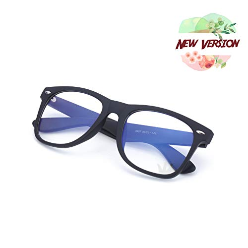 Blue Light Blocking Glasses Anti-Blue Light Unisex Transparent Lens for Computer TV Laptop Video Game Console Classic Modern Style Frosted Black