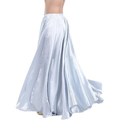 AvaCostume Womens Satin Long Swing Maxi Flowing Skirt, Silver