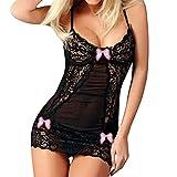 Lingerie Bodysuit for Women Plus Size LuluZanm Babydoll Bowknot Sleepwear Underwear Lace Dress + G-String