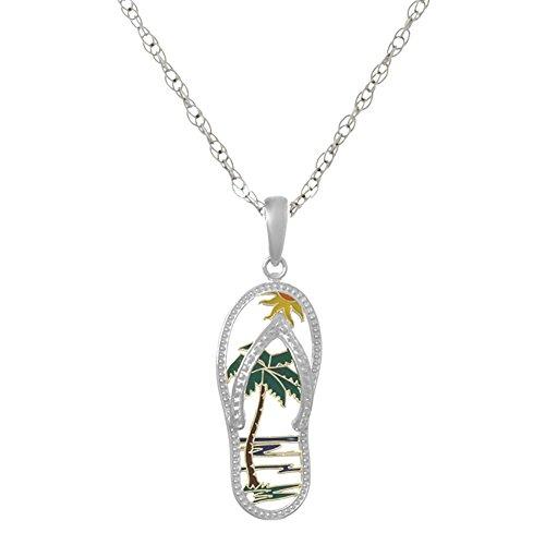 925 Sterling Silver Flip-Flop Charm Pendant, Beach Scene Palm Tree Cut-out, Enamel, with 18 Inch Chain - Pendant Flip Flop Flower