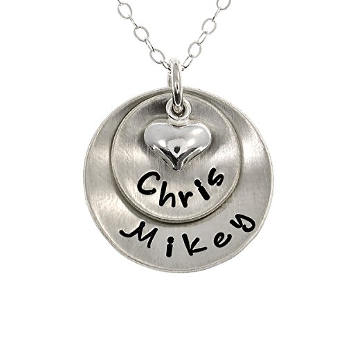 Lucky Two Necklace Personalized Sterling Silver With 2 names or words of your choice. Includes Sterling Silver Cable Chain Gift For Her