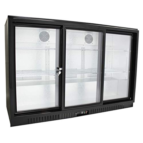 "54"" Wide Sliding 3 Door Back Bar Beverage Cooler, Counter Height Refrigerator with Glass Doors"
