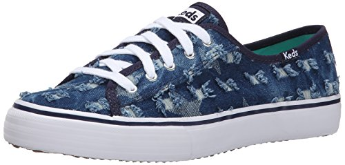 Keds Women's Double Up Distressed Denim Fashion Sneaker, Indigo, 9 M US