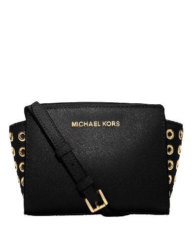 MICHAEL Michael Kors Selma Grommet Leather Mini Messenger Bag Black by Michael Kors