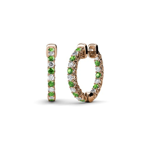 Green Garnet and Diamond Inside-Out Hoop Earrings with Side Gallery Work 1.05 ct tw in 14K Rose Gold