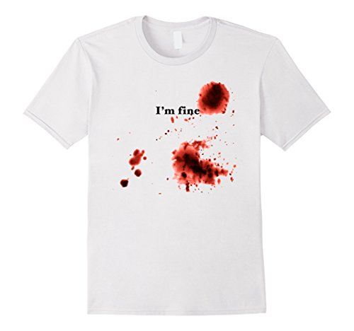 Bloody Lion Costume (Men's I'm Fine Bloody T-Shirt Halloween Bloody Costume T-Shirt 2XL)