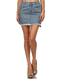 Simlu Womens Fitted Bodycon Mini Midi Denim Skirt