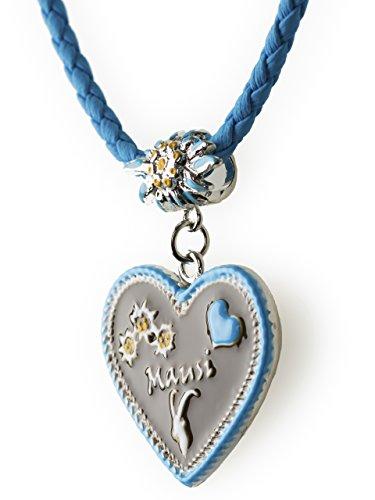 Trachtenkette Mausi bemaltes Herz mit Edelwess Kette rot oder blau - Trachtenschmuck Dirndl Lederhose (Blau)