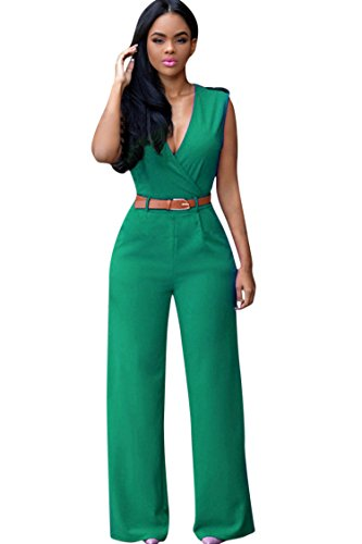 Women's Elegant Deep V Neck Loose Long Jumpsuits Rompers With Belt Green XL Green X-Large