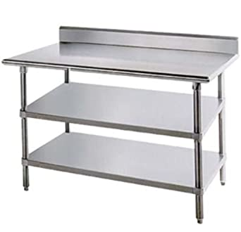 Amazoncom Stainless Steel Prep Work Table X Backsplash With - 30 x 60 stainless steel work table