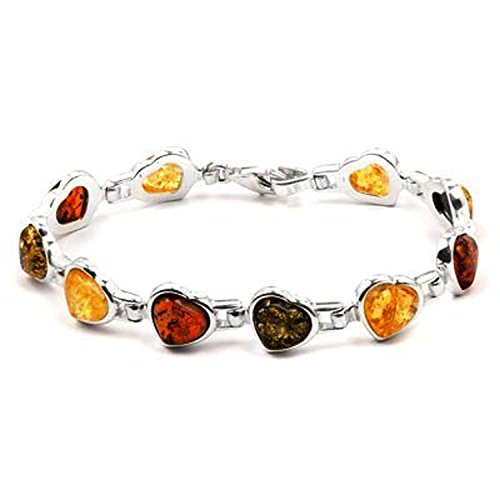Sterling Silver Multicolor Amber Heart Bracelet Length 7 Inches