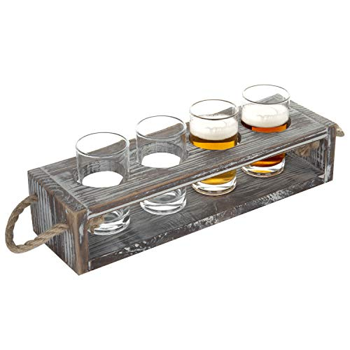 (MyGift Rustic Torched Wood Beer Flight Serving Caddy with 5-ounce Glasses)