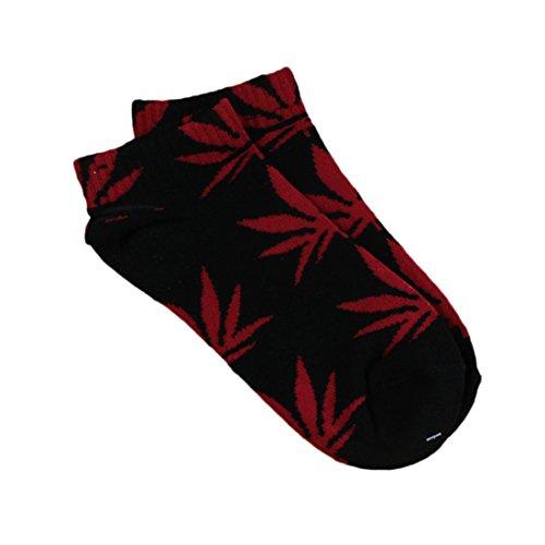 Spring Fever Unisex Marijuana Weed Leaf Ankle Crew Socks(Black/Red)
