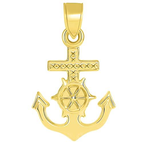 (14k Yellow Gold Religious Nautical 3D Mariner's Cross Pendant)