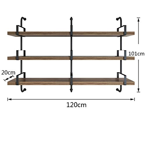 - WXL Wall Shelf Floating Shelf Iron Wall Hanging Rack 3 Layers Solid Wood Slotted Black Decoration Display Stand Home Office V (Size : A)