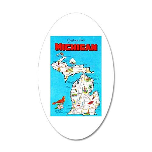 CafePress Michigan Map Greetings 20x12 Oval Wall Decal, Vinyl Wall Peel, Reusable Wall Cling ()