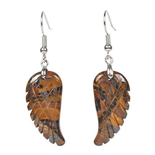 Natural Iron Tiger Gemstone Crystal Healing Reiki Chakra Handmade Angel Wing Dangle Earrings