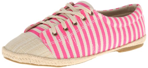 MUK LUKS Women's Paige Tie Fashion Sneaker,Pink Stripe,7 M US