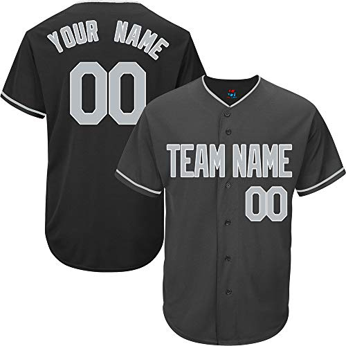 Black Custom Baseball Jersey for Men Full Button Mesh Embroidery Name & Numbers,Gray-White Size 2XL