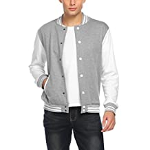 Coofandy Mens Varsity Jacket Fashion Button Front Cotton Bomber Baseball Jackets