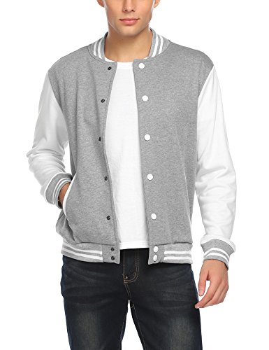 COOFANDY Men Fashion Long Sleeve Button Front Cotton Bomber Baseball Jacket(White,XX-Large) (Raglan Sleeve Jacket Bomber)