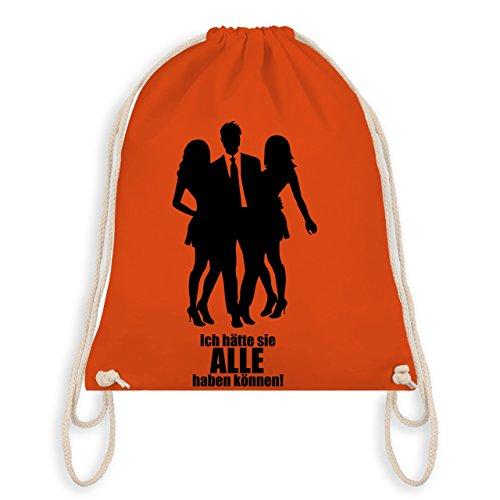 Shirtracer JGA Junggesellenabschied - Ich hätte sie ALLE haben können - Turnbeutel I Gym Bag Orange