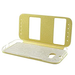 JUJEO Sand-Like Leather Window View Stand Cover for HTC One M8 - Non-Retail Packaging - White