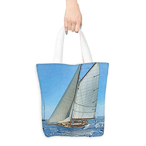 "Nautical Tote Bag Sailboat on the Sea Regatta Race Yacht and Windy Weather Competition Theme Machine Washable 16.5""x13.8""x6.3"" Blue White Brown"