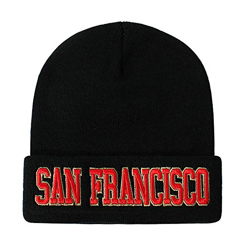 Classic Cuff Beanie Hat - Black Cuffed Football Winter Skully Hat Knit Toque Cap (San Francisco)