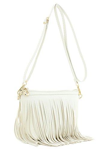 (Small Fringe Crossbody Bag with Wrist Strap (White) )