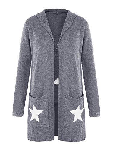 Hestenve Womens Hooded Chunky Oversized Cardigan Sweater Star Knitted Open Front Coat Tops