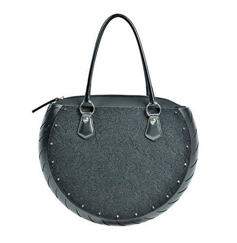 Ty's Bag, Borsa Donna LACE BLACK-BLACK, colore Nero, in Ecopelle, Made in Italy