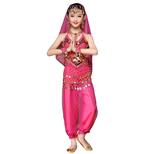 Maylong Girls Harem Pants Belly Dance Outfit School Halloween Costume DW63 (Medium, hot Pink)]()