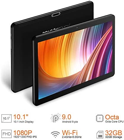 Dragon Touch Max10 Tablet, Android 9.0 Pie, Octa-Core Processor, 10 inch Android Tablets, 32GB Storage, 1200×1920 IPS HD G+G Display, 5G WiFi, USB Type C Port, Metal Body Black 41AR5Og9yqL