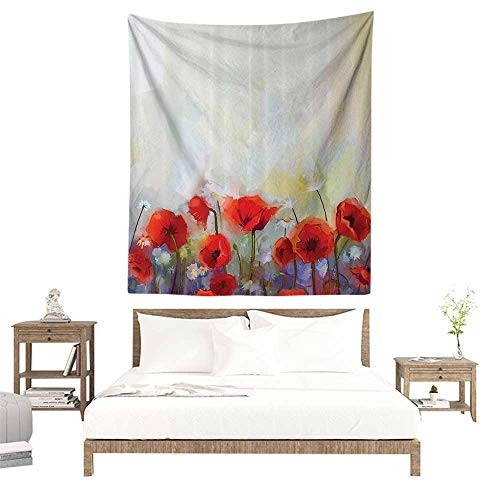 Tapestry,Watercolor Flower Decor Collection,Poppies Blossoms Meadow Wildflower Spring Season Painting,Red Ivory Orange W47 x L63 inch Apartment Decor Collection