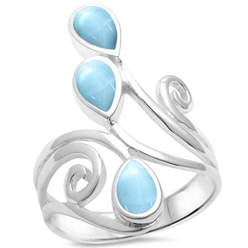 Blue Apple Co. Fashion Teardrop Pear Swirl Spiral Ring Pear Simulated Larimar 925 Sterling Silver, Size-6