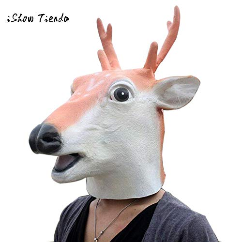 Home Decoration - Halloween Horror Sika Deer Animal Head Mask Simulation Headgear for The Party Toy Costume Gift New Years Decoration 2019]()