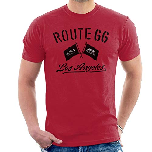 Route 66 Motorcycle Flags Los Angeles Men's T-Shirt Cherry Red (Best Bike Routes Los Angeles)