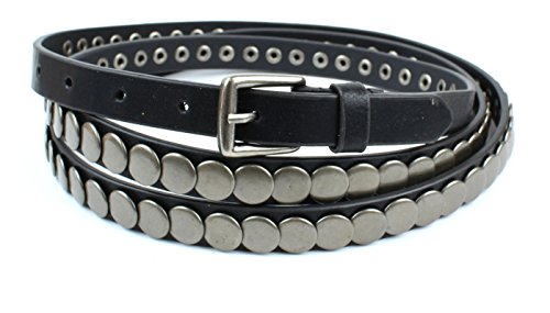 ouble Wrap Leather Belt - Black (M/L) (Skinny Double Wrap)