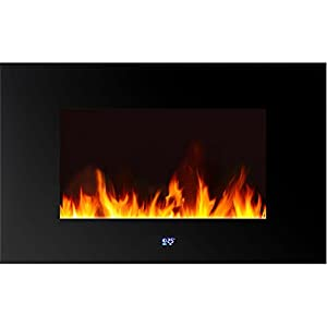 Warm House WLVF-10343 Venice Horizontal Wall-Mounted LED Fireplace with Digital Display and Remote Control